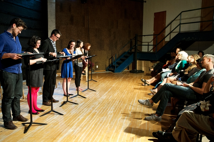 Actors read lines from &amp;ldquo;Family Play&amp;rdquo; written by Nick Fesette &apos;09 and directed by Randi Rivera &apos;08.<br />Photo: Nancy L. Ford