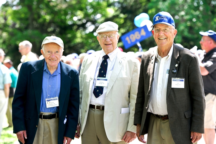 David Parker &apos;45, Clarence Aldridge &apos;45 and Gil Adams &apos;45 pose for a photo before the reunion parade.<br />Photo: Nancy L. Ford