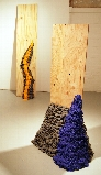 """Leaning Cascade: Orange Peel"" and ""Cascade: Blue Blood"" by Rebecca Murtaugh."