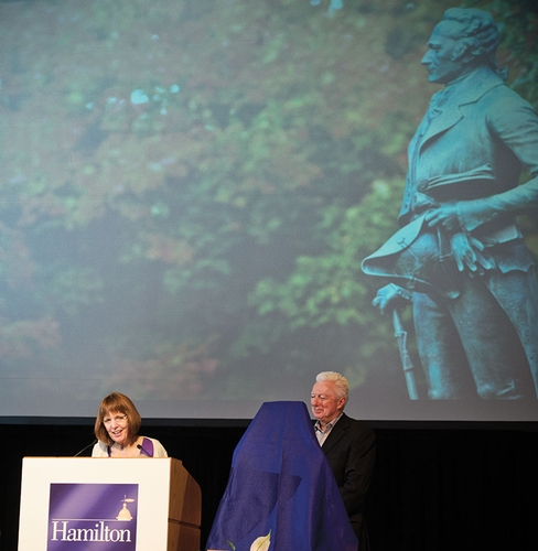 President Joan Hinde Stewart and Chair of the Board of Trustees A.G. ­Lafley '69 prepare to present an honorary degree to Alexander Hamilton during Reunion Weekend.
