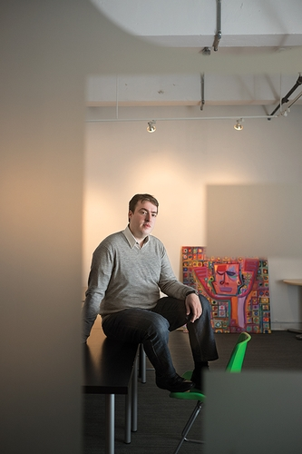 Alon Hillel-Tuch '07 takes a break at the offices of RocketHub, a leader in crowdfunding.