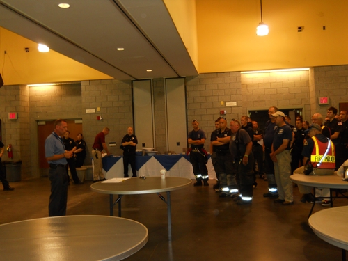 Fran Manfredo addressed the emergency personel at the emergency drill held on campus Monday, July 29.