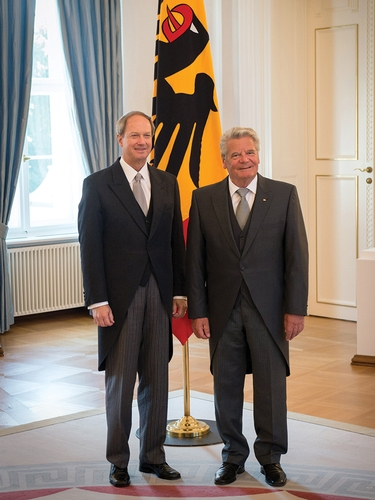 Ambassador Emerson after presenting his credentials to German President Joachim Gauck.