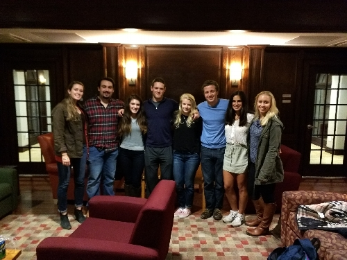 The Executive Board of HALT (from right to left: Elizabeth Ughetta, Jeffrey Romano, Cian Barron, Kenny Matheson, Annie Pooley, Eli Parker-Burgard, Sarah Wallack, and Kaitlin McCabe)