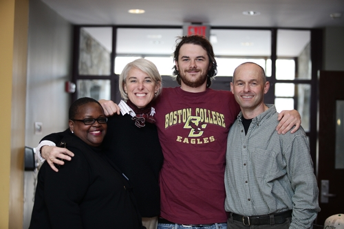 John Summa '12 and family with Ms Breland