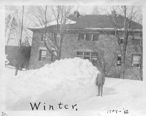 Snow in 1910 behind what is now Sadove Student center.
