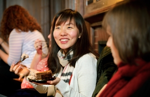 Binchan Luo '12 enjoys her chocolate treats during the tasting.