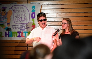 Contestant Andrew Madigan and Emcee Emma Leeds '12