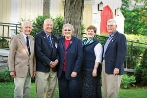 Don Potter, Gil Adams '45, Anne Kinnel, Glynis Asu and Robin Kinnel (from left) gather at an ABC dinner in June at St. James Church in Clinton.