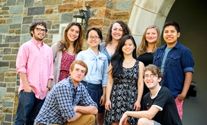 The 2013 summer interns and tour guides outside Suida House at Hamilton College.