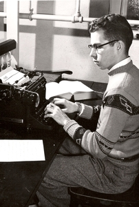 Tom Blizzard typing a press release