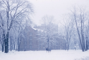 South dorm in ice and fog