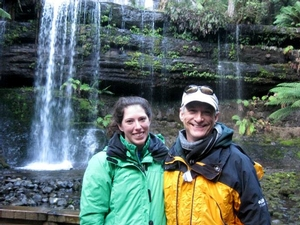 Professor Domack and student Katy Smith pose by the Ferntree mudstone waterfall.