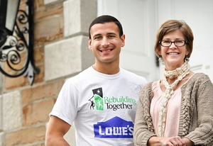 Nick Solano '14 and Amy James, director of Hamilton's Community Opportunity and Outreach Program (COOP)