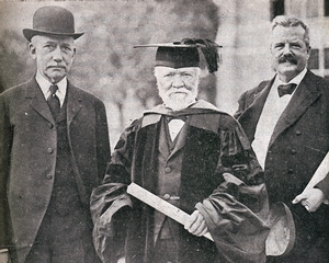 U.S. Sen. Elihu Root, Andrew Carnegie and Hamilton President Melancthon Woolsey Stryker (from left) pose on Oct. 10, 1914,  after an honorary Doctor of Laws degree was conferred on Carnegie  in a Chapel ceremony.