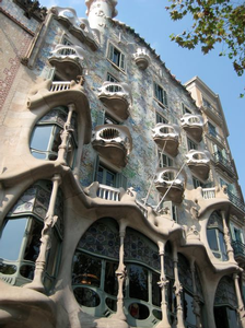 Gaudi's Casa Batillo facade. Gaudi was in a way the leader of Spain's 'moderniste' movement.
