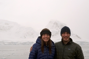 Izzy Weisman'15 and Alex Hare '14 on the Gerlache Strait.