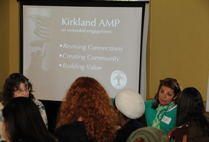 Hamilton College Archivist Katherine Collett (left) and Judy Silverstein Gray K'78 talk with students about the Kirkland Archives, Media and Publications project during Spring Volunteer Weekend in April.