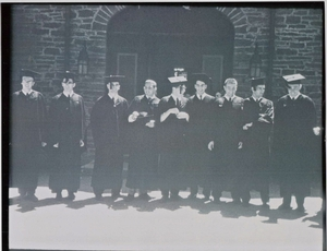ELS graduates - June, 1957 (left to right): Al Specht, Peter Luke, Irad Ingraham, Josh Koplovitz, Gary Tischler, Al Kempler, Harvey Katz, Jamie McClintock, Bob Kraunz