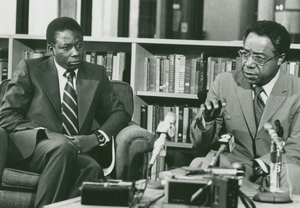 Ebou Manga '68 (left) and Alex Haley speak during a news conference in Burke Library before 1977 Commencement ceremonies, where Haley received an honorary doctorate.