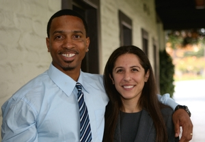 Paige Kaneb '04 with Obie Anthony, one of three wrongly convicted men she helped free during a seven-month period working for the Northern California Innocence Project.