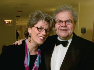 Melinda Wagner '79 meets with the acclaimed pianist Emanuel Ax after he had performed her Extremity of Sky, a piano concerto commissioned for him.