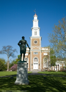 Hamilton College Chapel and statue of Alexander Hamilton