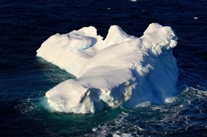 An iceberg about the size of a small house bobbed by the ARAON in the Gerlache Strait