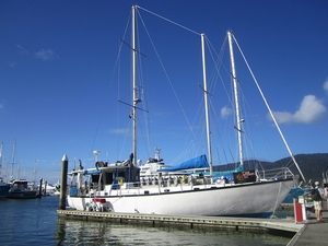 Our boat, The Rum Runner, stands in port in Cairns, Australia. On a two day trip, this vessel took us to the Great Barrier Reef, where we had the opportunity to snorkel and scuba dive. We will produce sediment maps of the reefs that we visited.