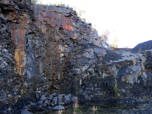 The Woody Island Formation. This mudrock is well exposed in this area, which allows it to be used as a quarry for road fill.  Analogous mudrocks are present in other parts of Tasmania, South America, Africa and Antarctica.