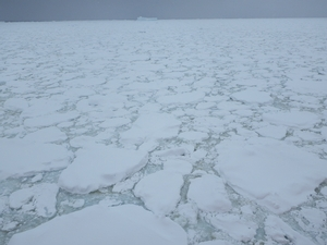 A view of the compacted, thick pack ice that surrounds the vessel and continues out into the distance.