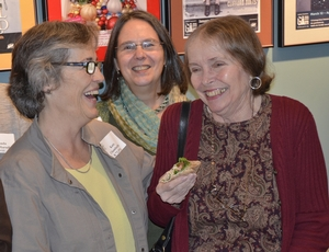 Kate Chamberlin K'72, Jennie Morris K'72, and Natalie Babbitt share a moment