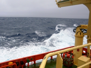 Sea conditions in the Drake Passage around 12:30 p.m. starting to get rougher.