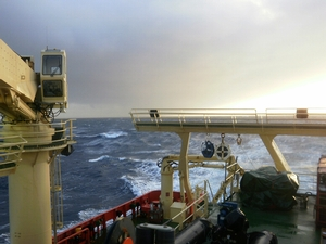 The waves off the deck of the Laurence M. Gould as conditions in the Drake Passage begin to get harsher.
