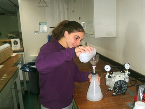Deanna Nappi '15 filtering seawater samples with a vacuum pump for Amy Leventer's phytoplankton study in the Drake Passsage.