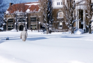 Student trudging to library or Root Hall