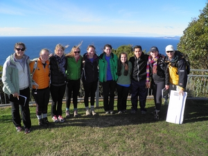 A group of students and Gene stand on Table Cape. Behind them is the Bass Strait, a failed rift with a plethora of organic matter. Table Cape is composed of basalt, which was deposited by a volcano in the nearby distance.