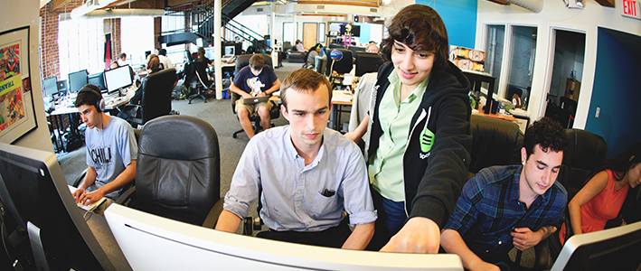 Jeremy Trombetta '15, center, spent this past summer interning at Echo Nest in Boston., Mass.