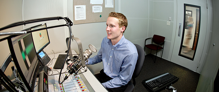 Reid Swartz '15, an English major, worked this past summer as a production intern at the Oswego-based NPR affiliate WRVO.