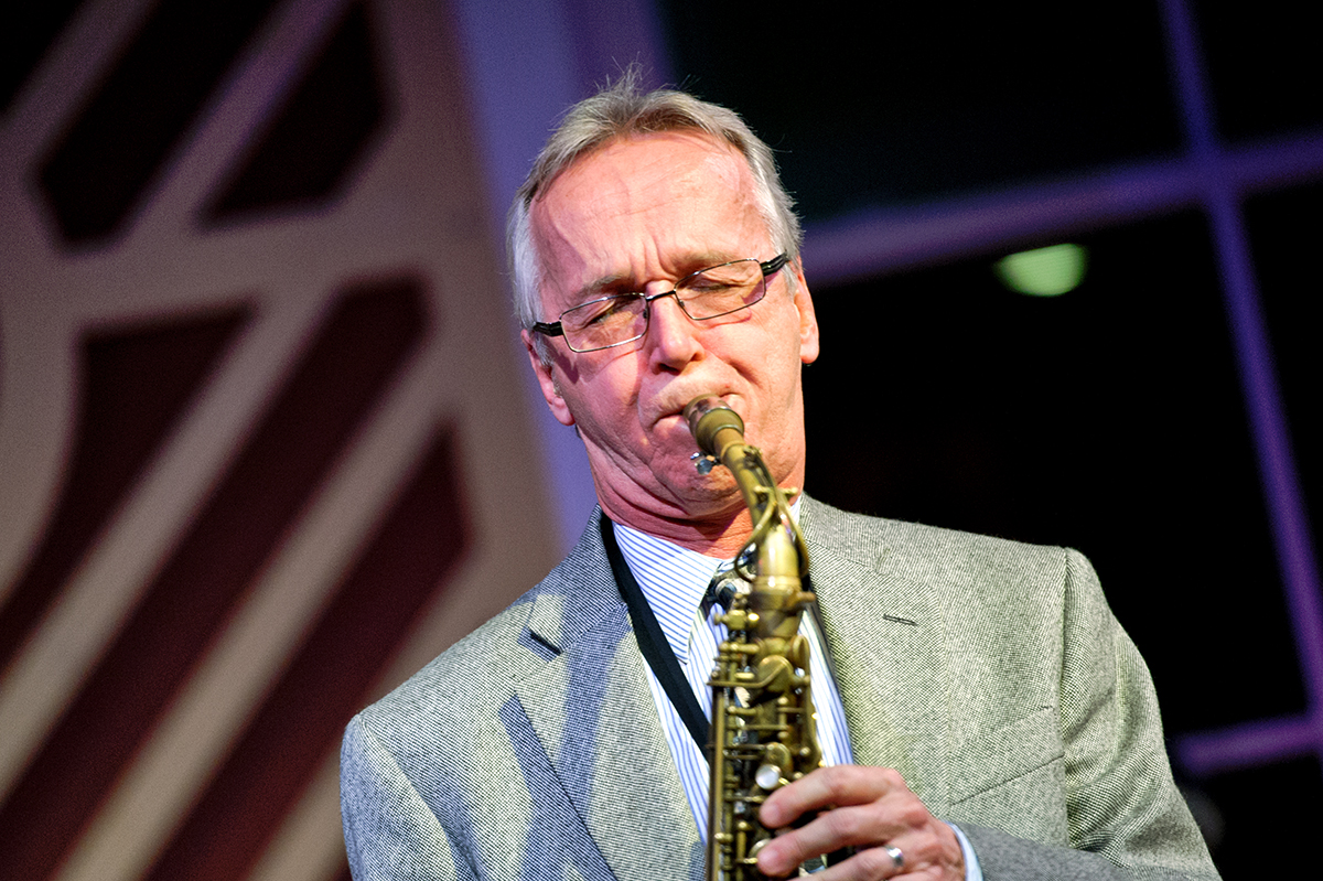 Monk Rowe, the Joe Williams Director of the Fillius Jazz Archive and lecturer in music performance, performs during Fallcoming Weekend.