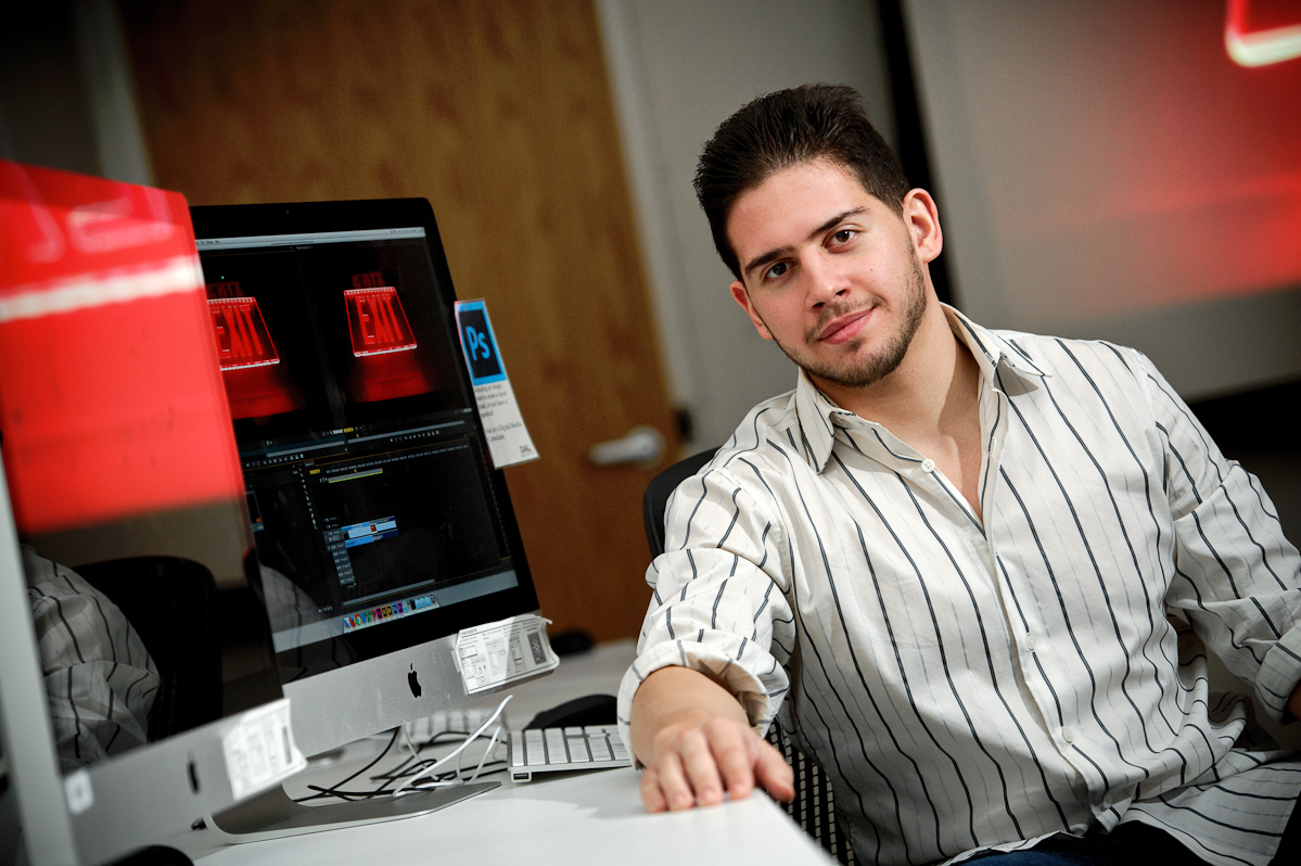 Michael Berrios '16 , digital arts student in the Digital Arts Lab in Kennedy Center