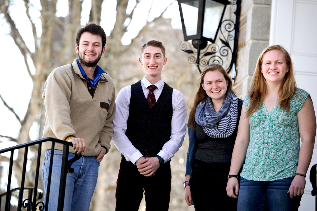 COOP Senior Fellows, from left, Evan Warnock, Jason Driscoll, Sarah Andrews, Maggie Doolin.