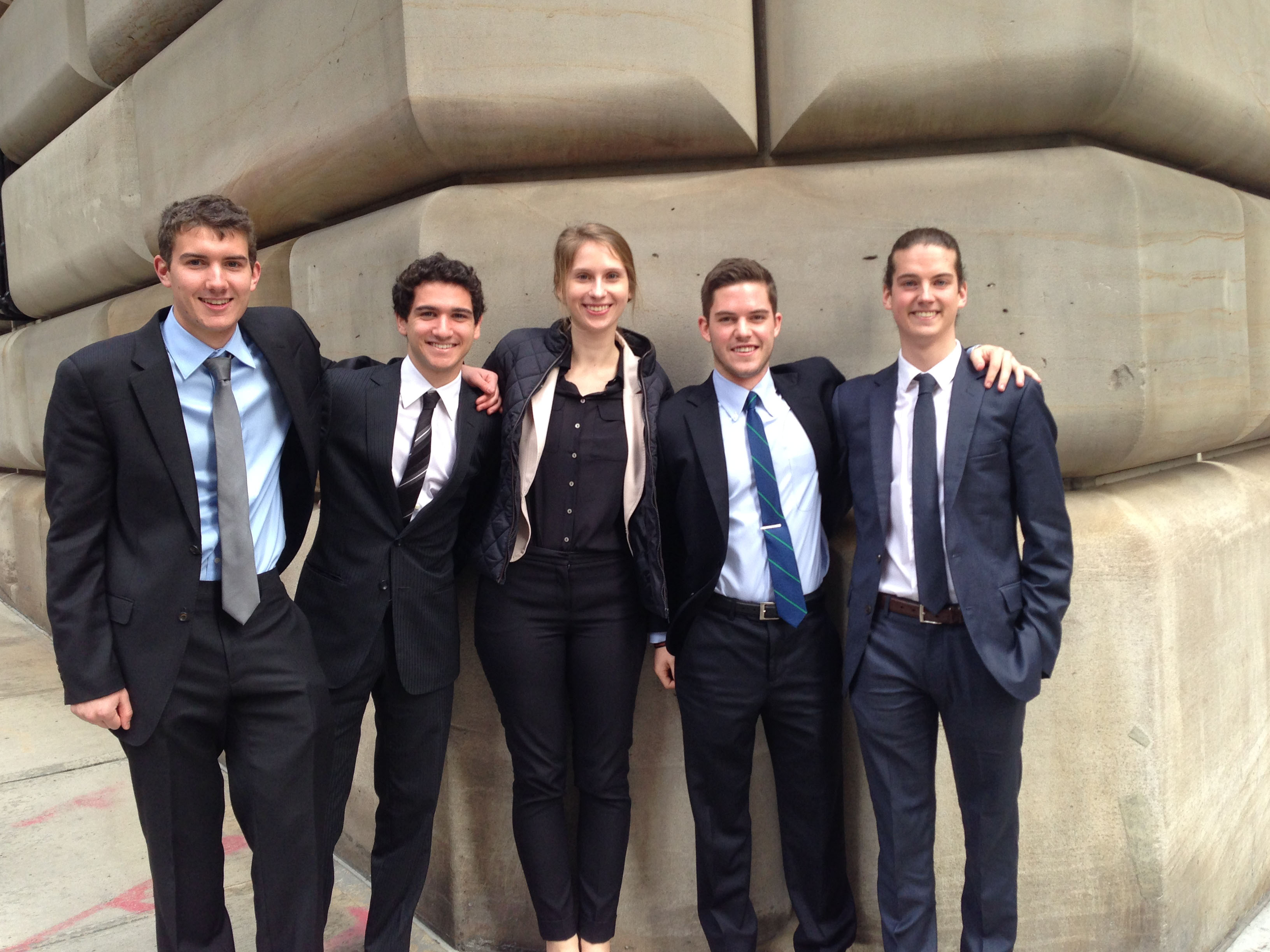 College Fed Challenge semifinalists James Bryan '16, Michael Akselrad '16, Angelika Wieliki '15, Conor Fox '15 and Brian Cameron '15.