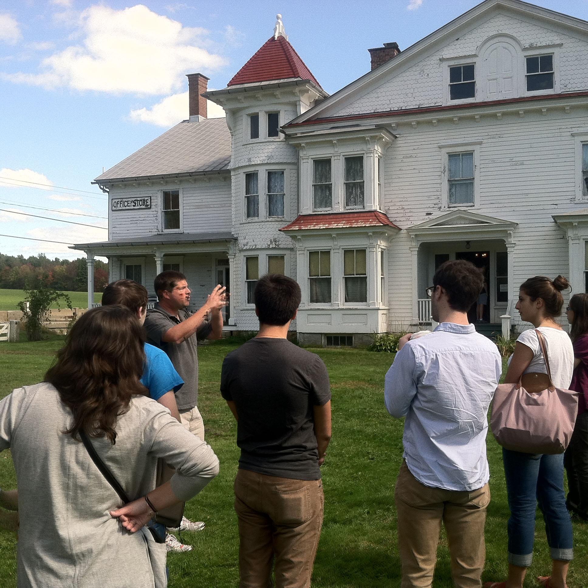 Goodwillie talking to students at Hancock Shaker Village