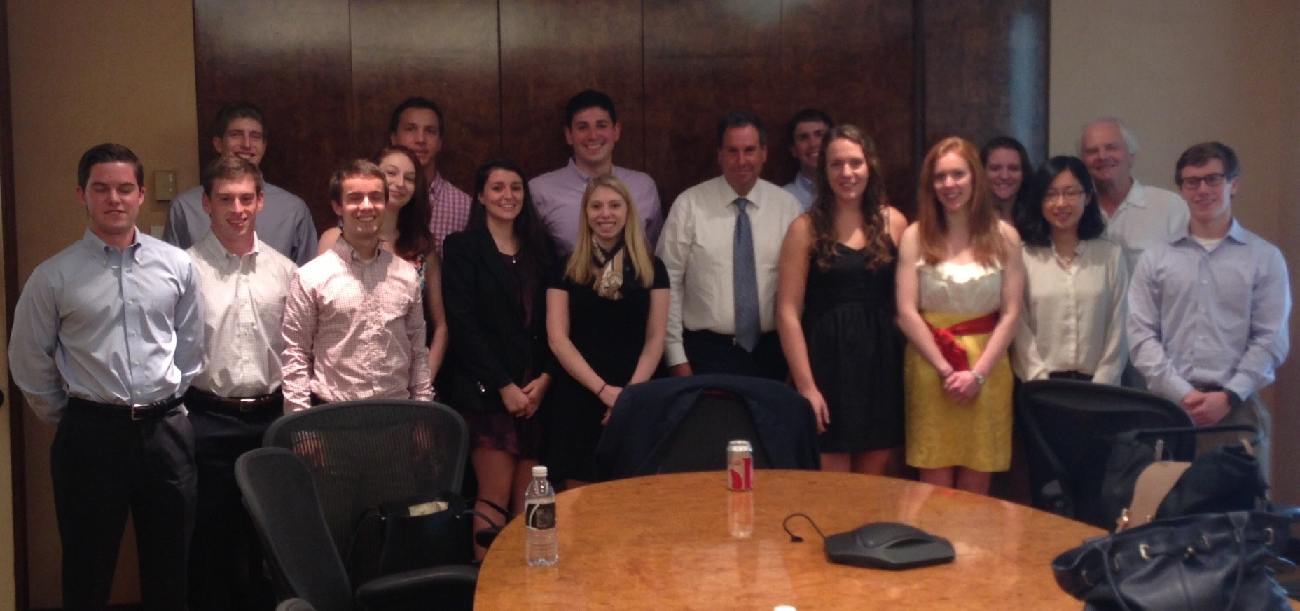 NYC Program students and professor Derek Jones with host Saks CEO Steve Sadove '73.