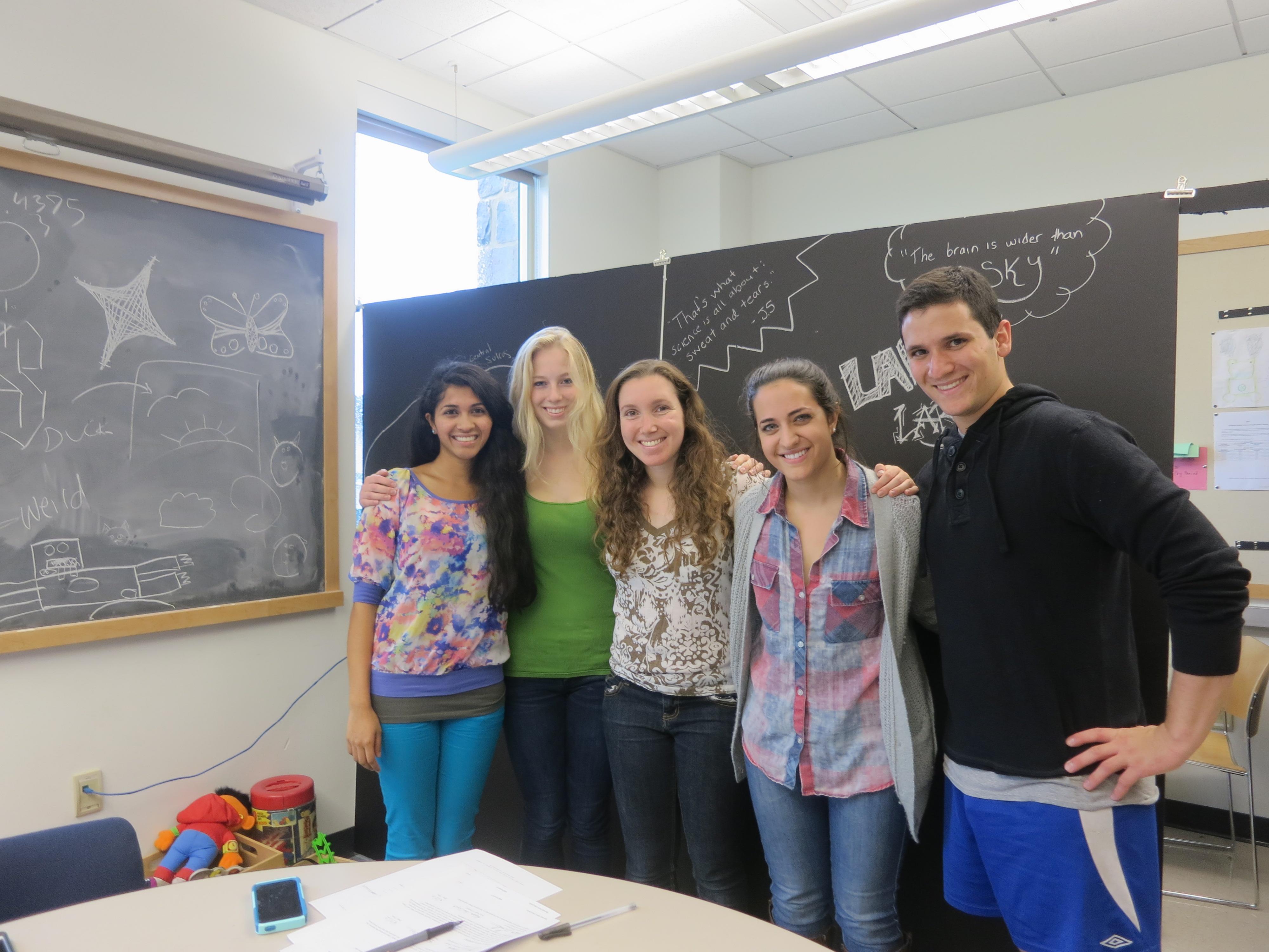 Sandhya Rao '15, Gretchen Walker '14, Rebecca Gaines '15, Sarah Mehrotra '14, Noah Levinson '14.