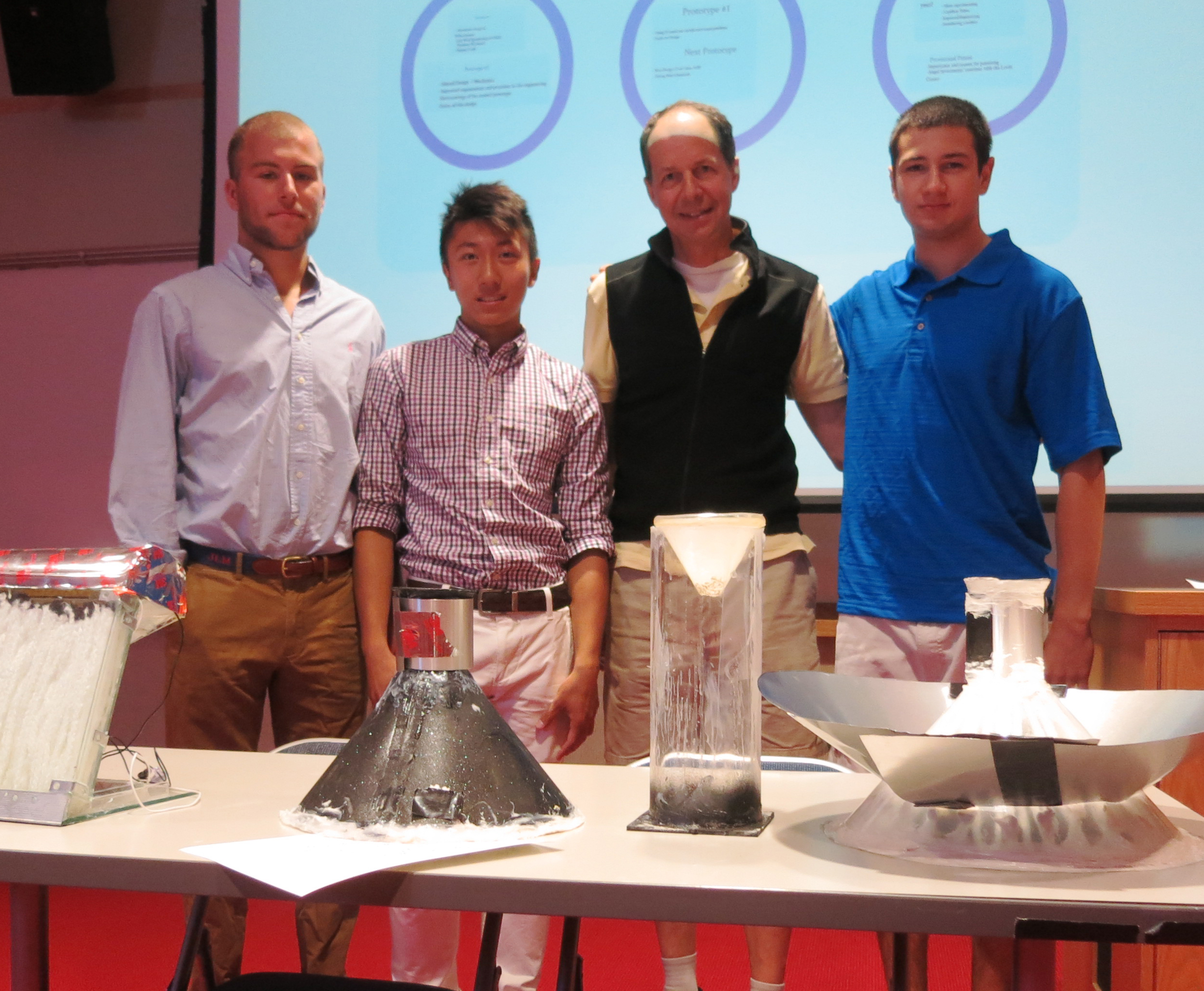 From left John McGuinnis, Andy Chen, Professor Todd Rayne and Zachary Pilson
