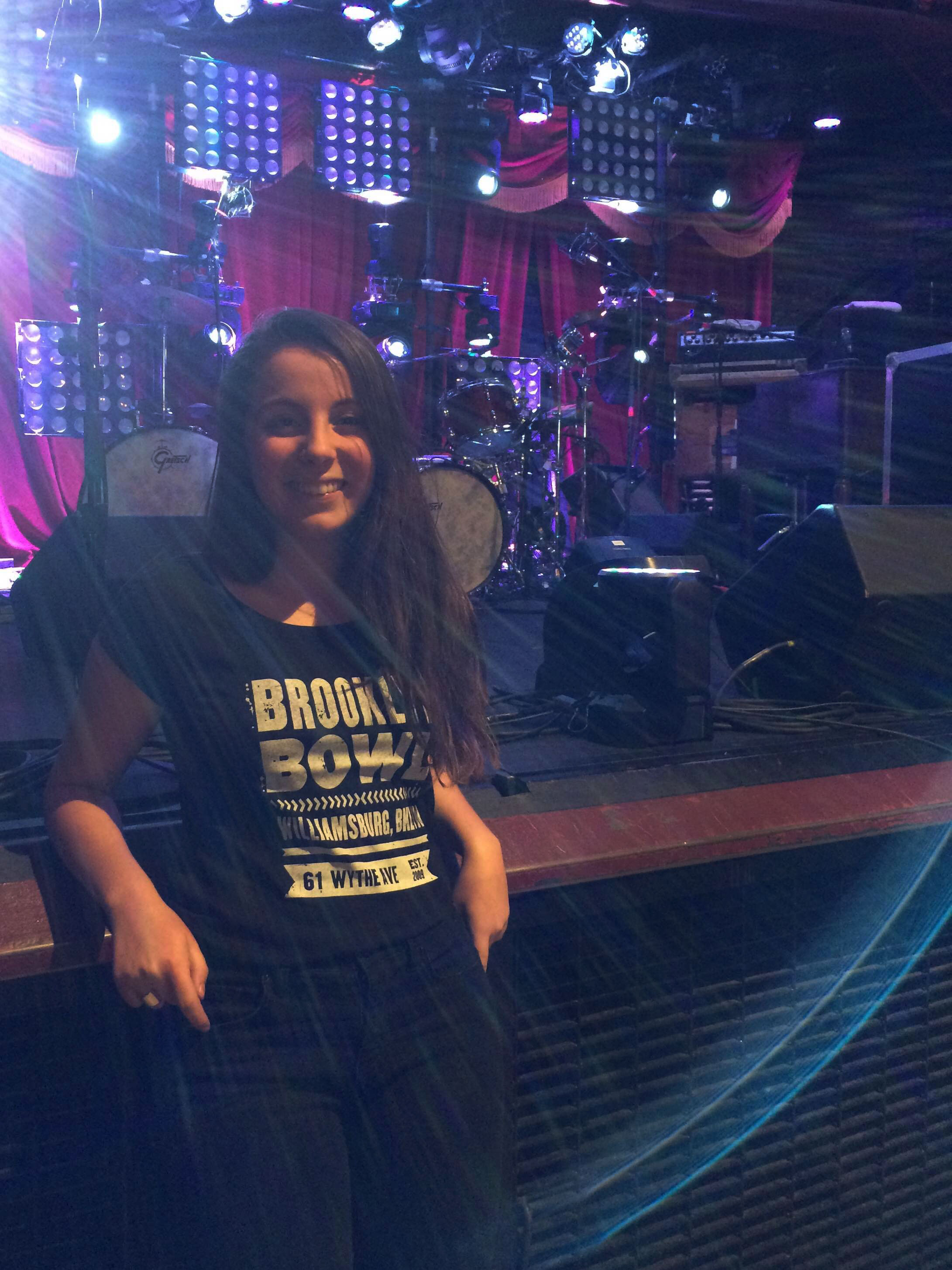 Adelaide Fuller '17 during her internship at the Brooklyn Bowl music venue.
