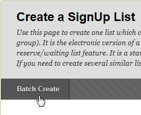 resource center how to create a sign up sheet in blackboard