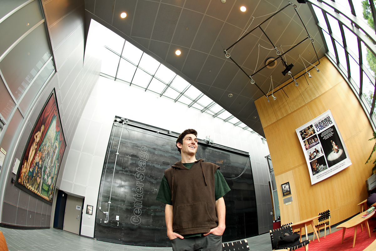 Brian Evans '15 poses in the lobby at his internship at the Williamstown Theatre Festival.